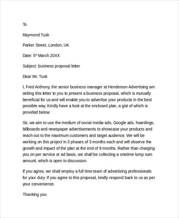 Business Proposal Letter Format. Business Proposal Letter Template