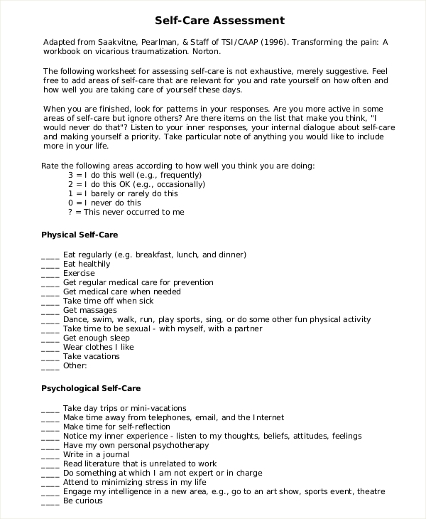 Sample Self Care Assessment   Documents In Pdf Word