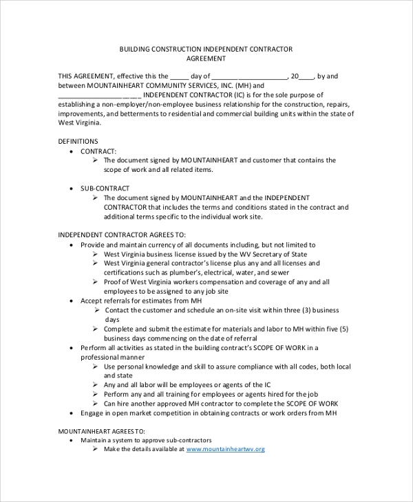 Sample Construction Contractor Agreements Sample Templates - Building contractor agreement template