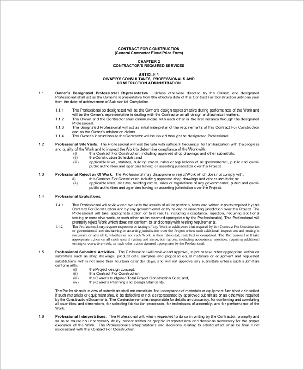 8 Sample Construction Contractor Agreements Sample Templates