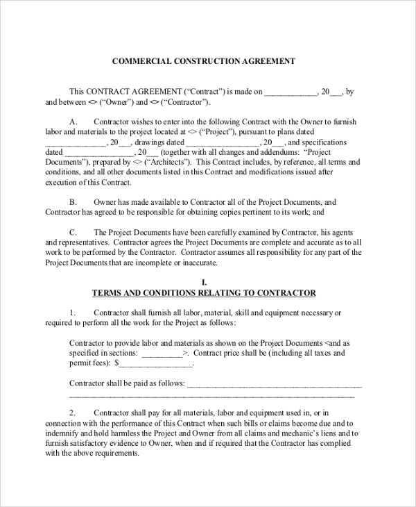 Sample Construction Contractor Agreement 7 Documents in PDF Word – Construction Contract Template Word