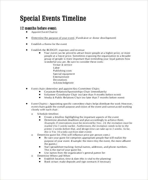 Special Event Timeline Template  BesikEightyCo