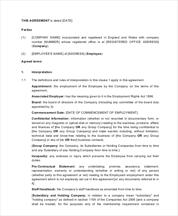 Sample Executive Employment Agreement 6 Documents in PDF WORD – Executive Employment Agreement