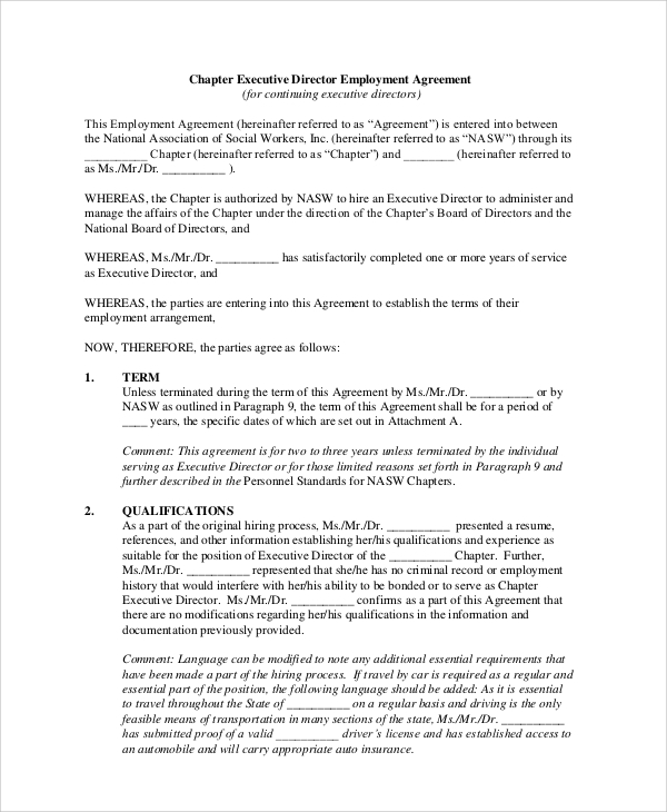 Sample Executive Employment Agreement 6 Documents in PDF WORD – Sample Executive Agreement