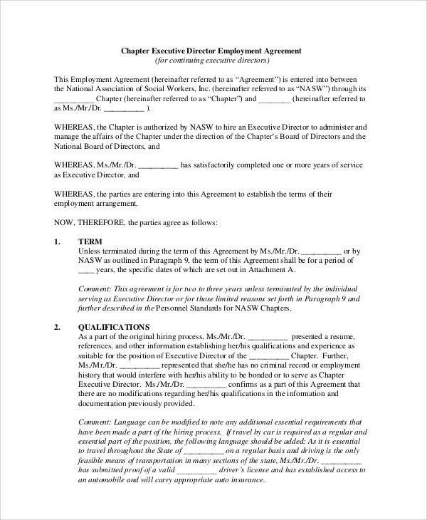 executive director employment agreement