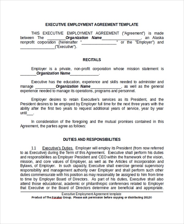 Sample Executive Employment Agreement   Documents In Pdf Word