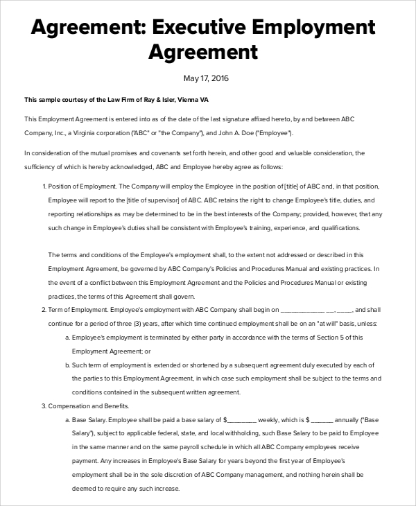 sample executive employment agreement 6 documents in pdf word