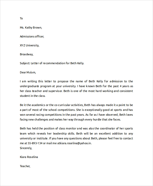 college recommendation letter template 7 sample college recommendation letters sample templates 20901 | College Student Recommendation Letter
