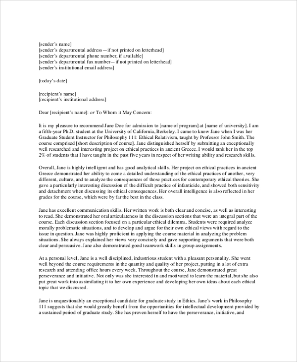 Sample College Recommendation Letter 7 Documents in PDF Word – Sample College Recommendation Letter