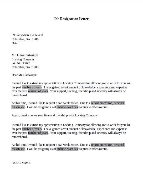 basic job resignation letter