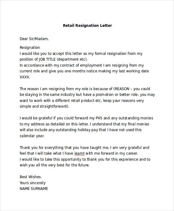 simple resignation letter for retail 7 basic resignation letter samples sample templates 22338