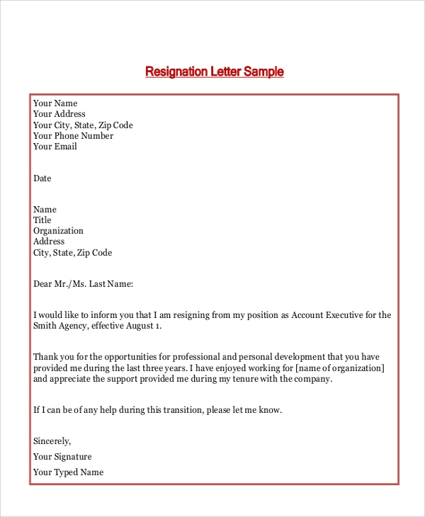 basic formal resignation letter