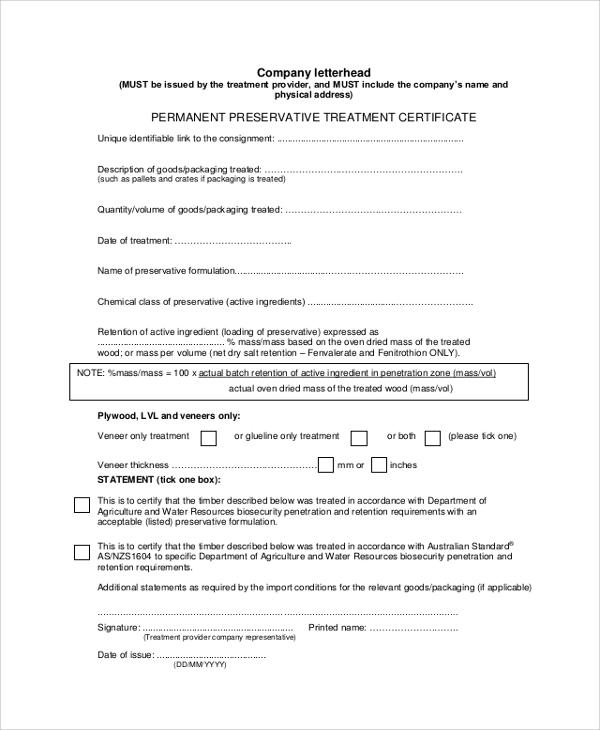 company letterhead certificate