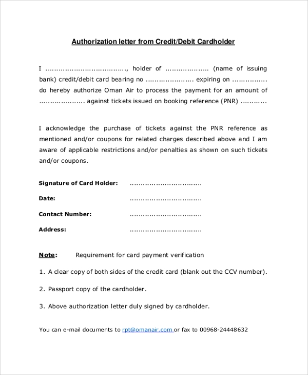 Sample Credit Card Authorization Letter - 7+ Documents In Pdf, Word