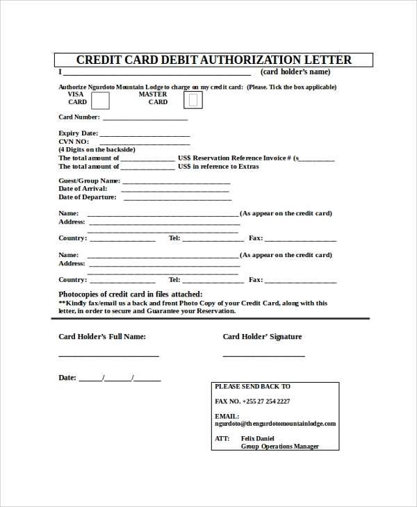 Sample Credit Card Authorization Letter   Documents In Pdf Word