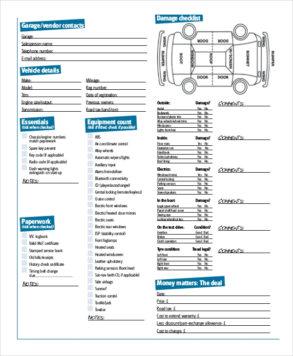 Sample Vehicle Appraisal Form - 7+ Documents In Pdf