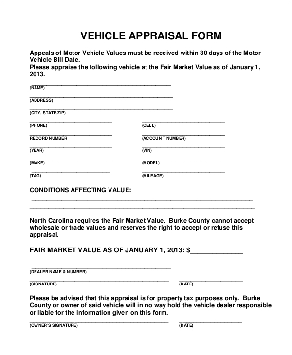 Sample Vehicle Appraisal Form   Documents In Pdf