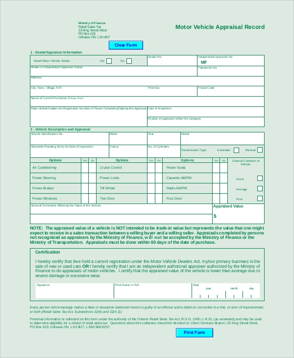 Sample Vehicle Appraisal Form 7 Documents in PDF – Vehicle Appraisal Form