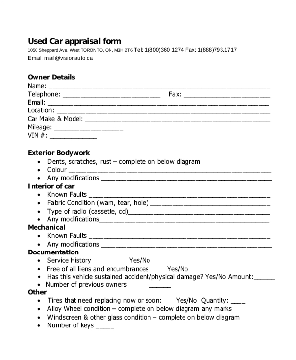 Sample Vehicle Appraisal Form 7 Documents in PDF – Sample Appraisal Form