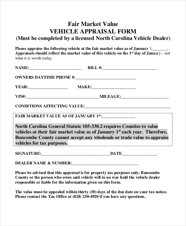 8 sample vehicle appraisal forms sample templates. Black Bedroom Furniture Sets. Home Design Ideas
