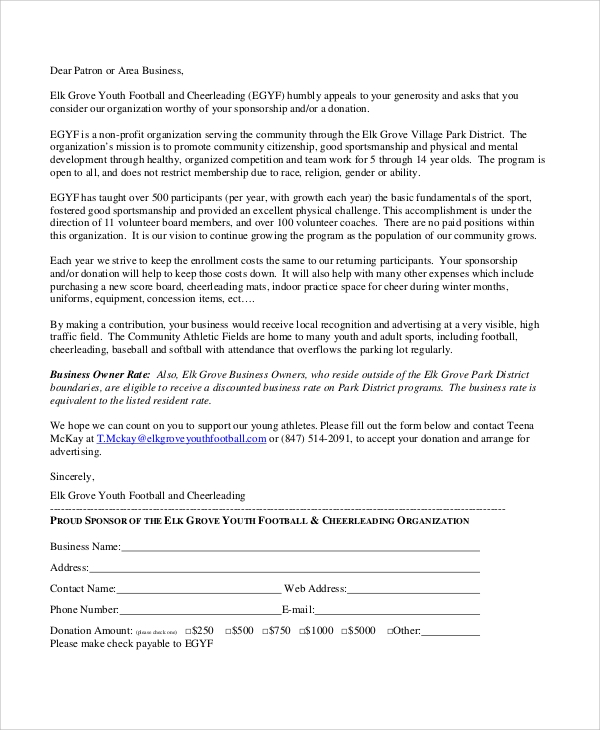Sample Sports Sponsorship Letter