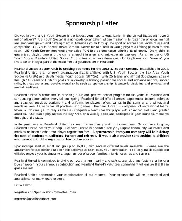 Sample Sports Sponsorship Letter 6 Documents in PDF – Company Sponsorship Letter