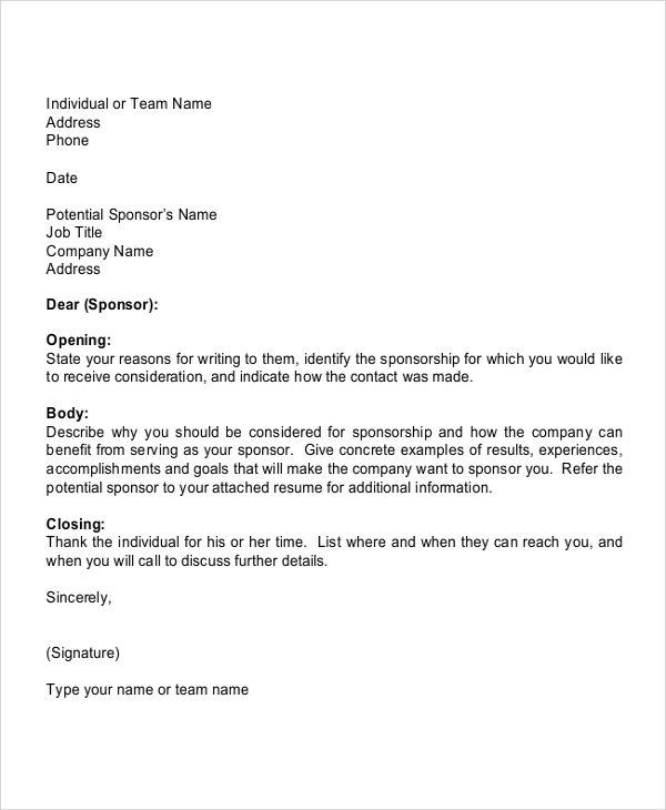 Sample Sports Sponsorship Letter   Documents In Pdf
