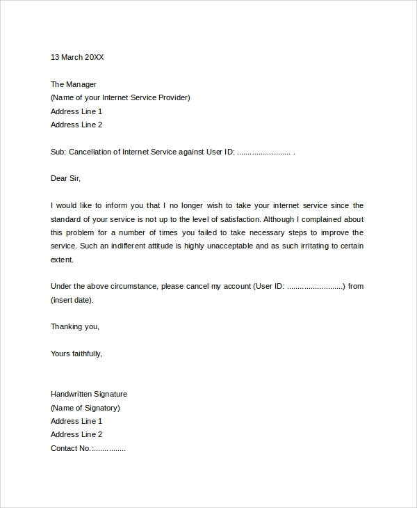 Sample Service Termination Letter   Documents In Pdf Word
