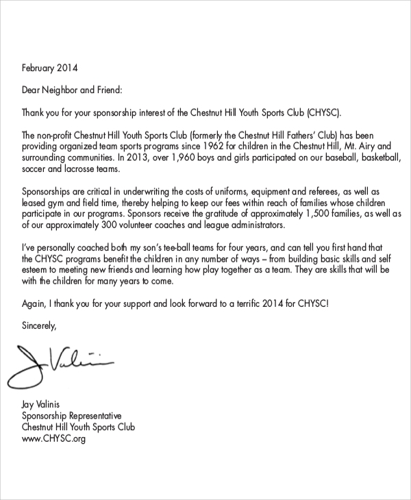 sports sponsorship introduction letter