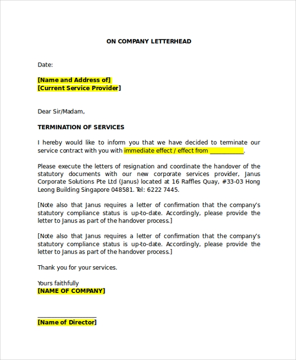 Sample Service Termination Letter