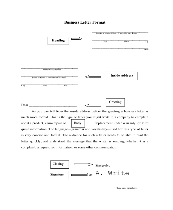 Sample Business Letter Format   Documents In Pdf Word