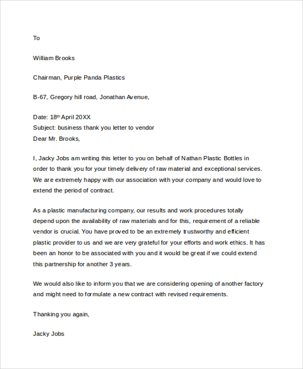 Professional Business Thank You Letter