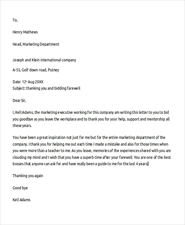 Sample Professional Thank You Letter   Documents In  Word
