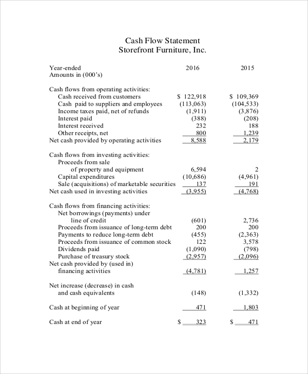 Sample Cash Flow Statement   Documents In Pdf Word