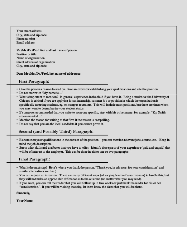 professional cover letter sample