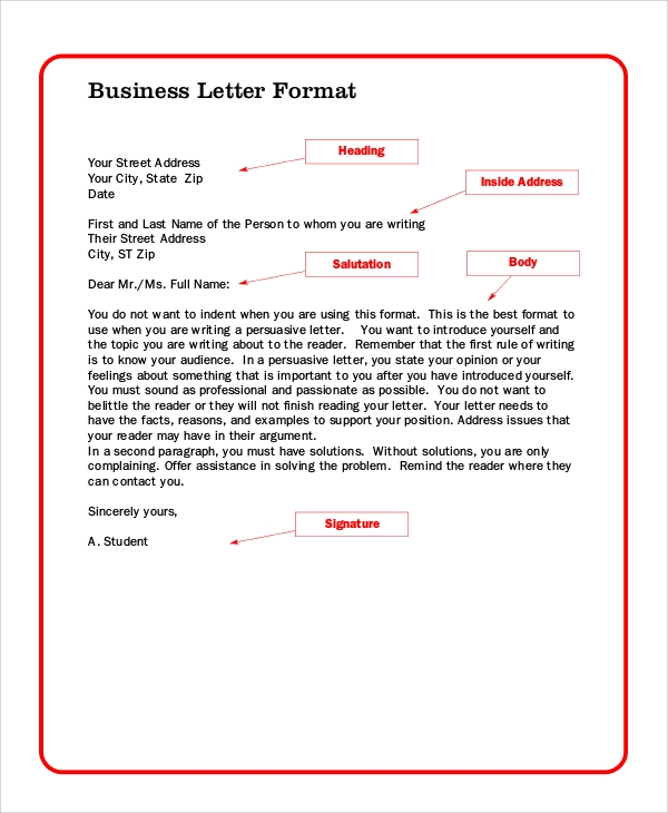 Sample Professional Letter   Documents In Pdf Word