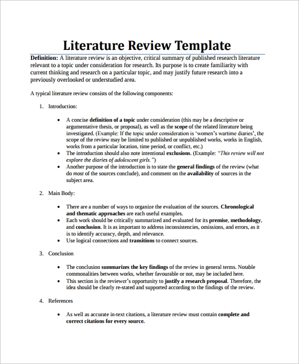 8 sample literature reviews sample templates for Template for writing a literature review