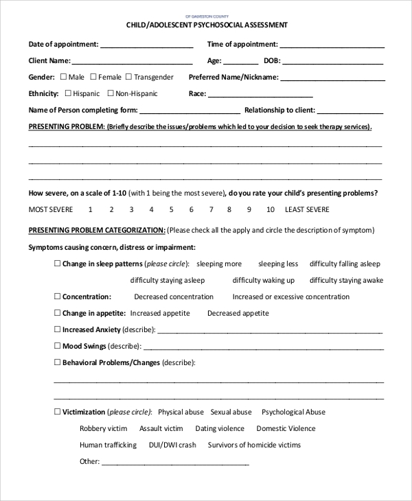 Sample Psychosocial Assessment Form - 7+ Documents In Pdf