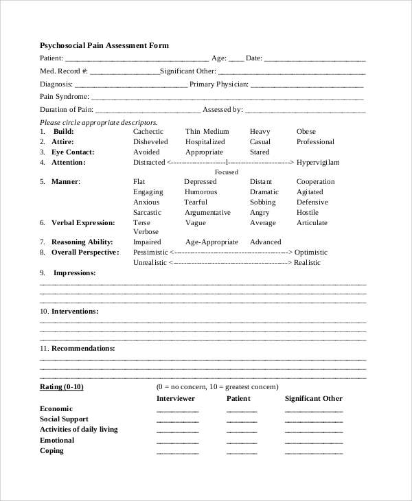 Sample Psychosocial Assessment Form   Documents In Pdf