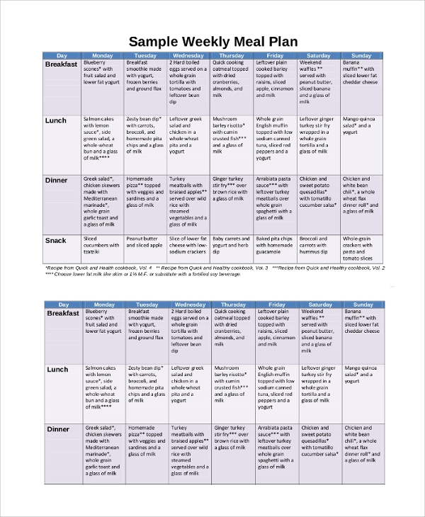 sample meal calendar