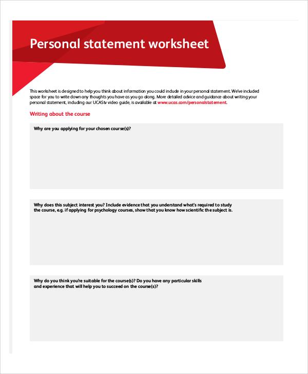 bank personal statement worksheet