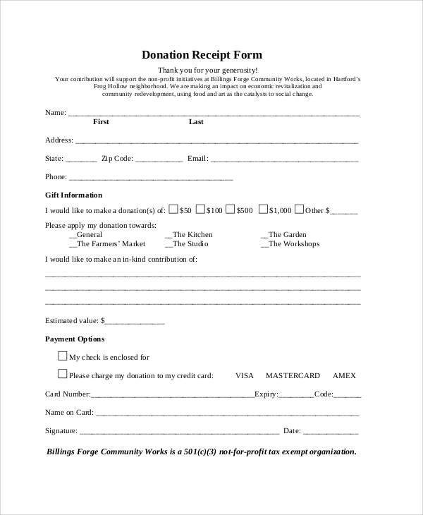 Inkind Donation Forms Free Church Forms Find Forms For Mandegarfo