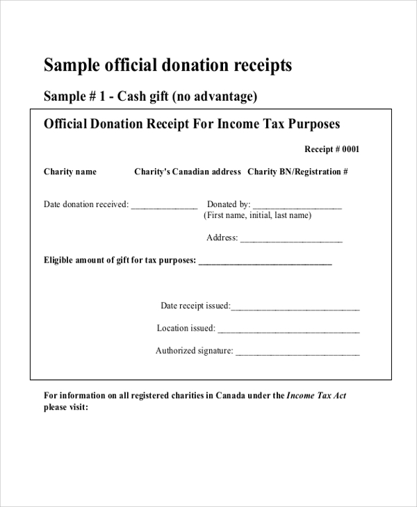 Sample Donation Receipt 7 Documents in PDF – Sample Official Receipt