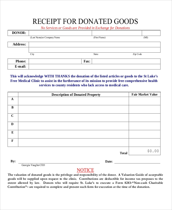 Silent auction donation form template