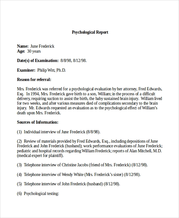 psychological report writing My specialist field is psychological trauma an area within which i have worked  over  me to give expert opinion and evidence are set out at the end of this report.