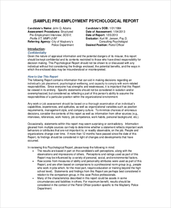 Sample Psychological Report   Documents In Pdf Word