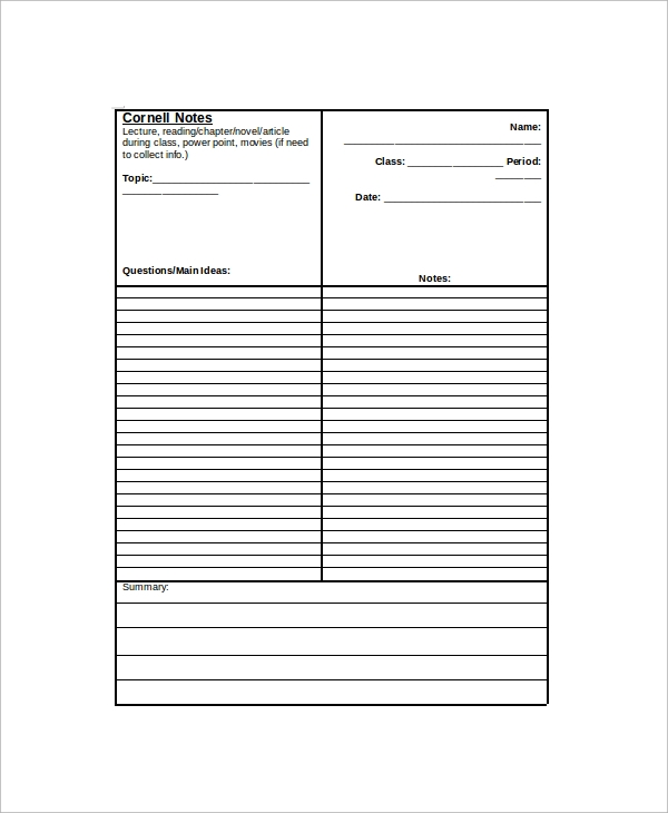 Sample Cornell Note   Documents In Pdf Word