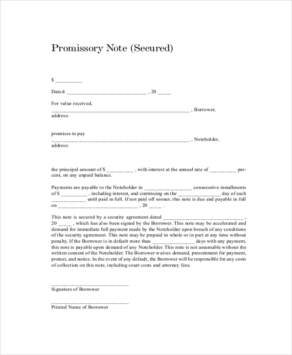 Sample Promissory Note 7 Documents in PDF Word – Promisory Note Example