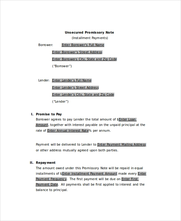 Sample Promissory Note 7 Documents in PDF Word – Promise to Pay Note