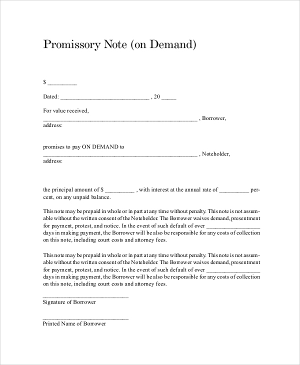 promissory demand note
